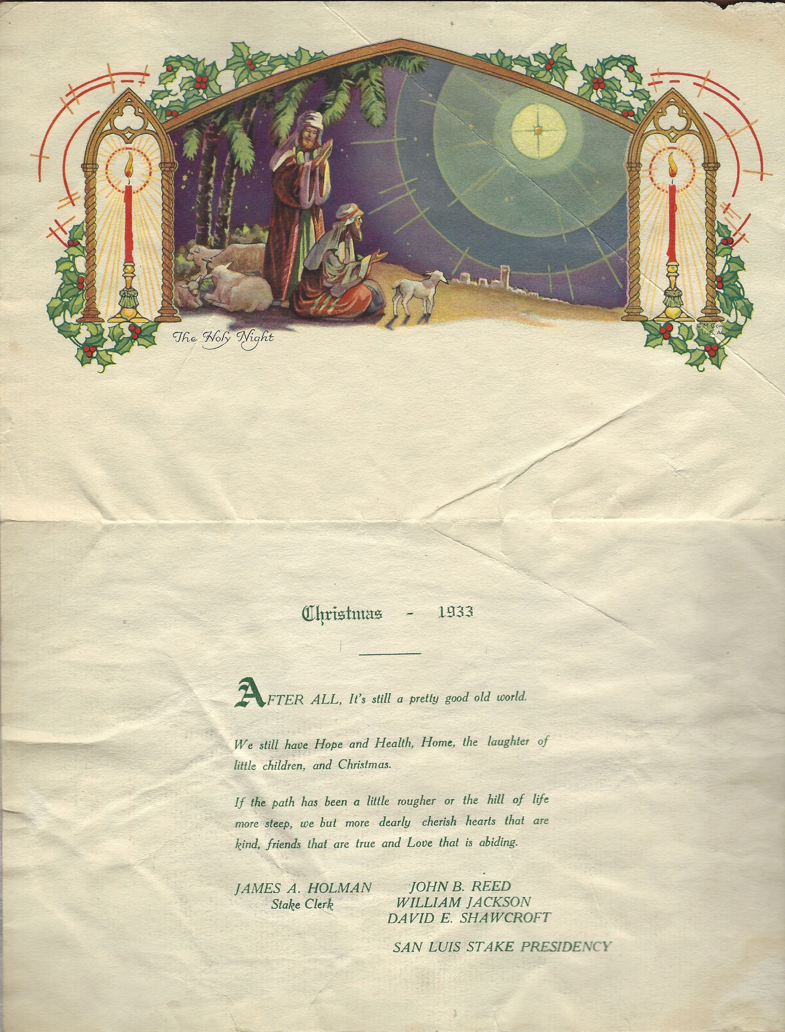 San Luis Colorado Stake Presidency Christmas Card 1933 — Jackson ...